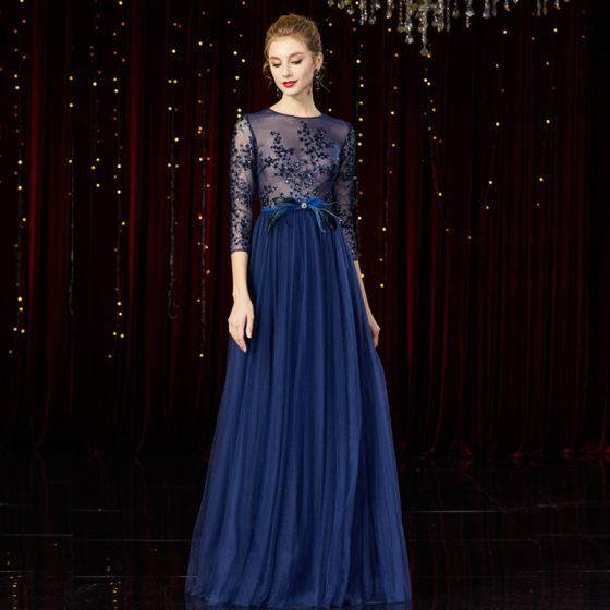 Illusion Navy Blue See-through Red Carpet Evening Dresses  2020 A-Line / Princess Scoop Neck 3/4 Sleeve Feather Sash Beading Floor-Length / Long Ruffle Formal Dresses