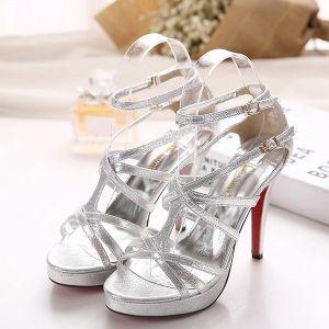 Fashion Silver Sandals 4 Inch Stiletto High Heels Womens Shoes