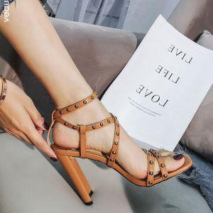 Schöne Römisch Beige Strassenmode Niet Sandalen Damen 2020 10 cm Stilettos Peeptoes Sandaletten