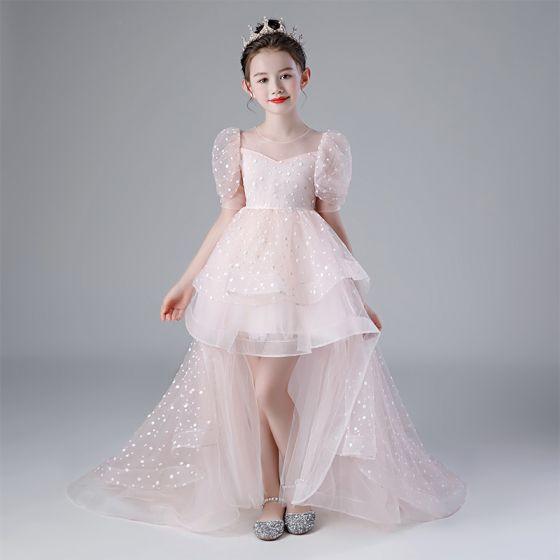 Viktoriansk Stil Rødmende Rosa Bursdag Blomsterpikekjoler 2020 Ballkjole Gjennomsiktig Scoop Halsen Puffy 1/2 Ermer Flekkete Tyll Asymmetrisk