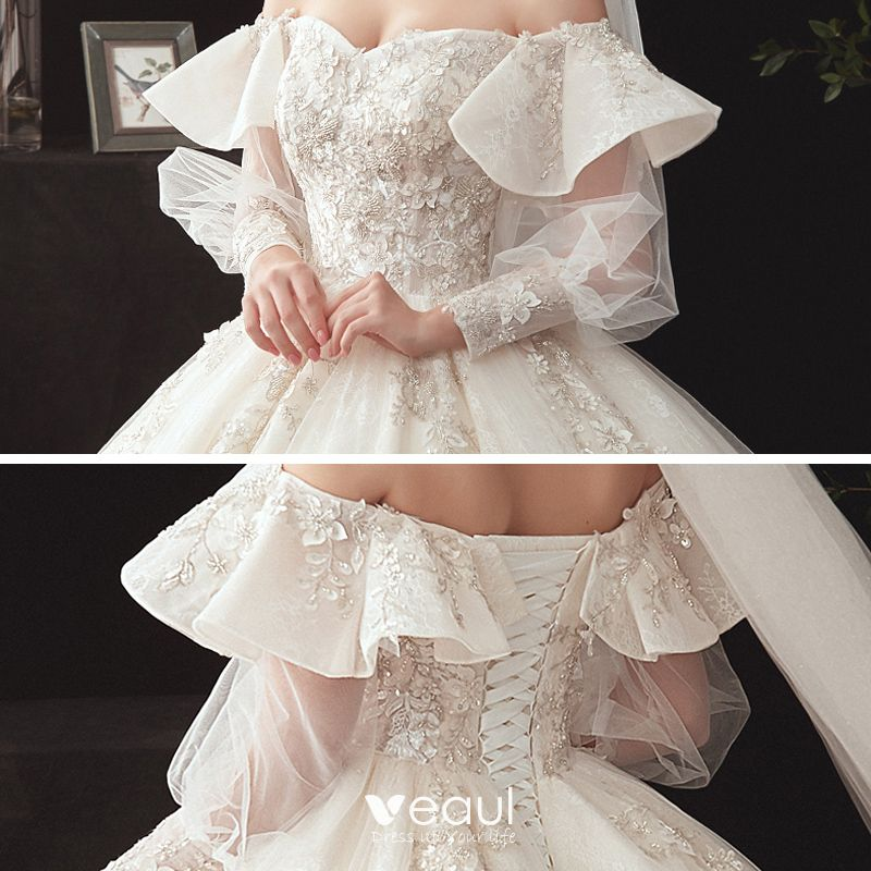 Victorian Style Champagne Wedding Dresses 2020 Ball Gown