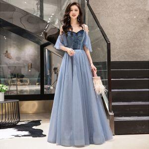 Elegant Sky Blue Prom Dresses 2019 A-Line / Princess Suede Spaghetti Straps Short Sleeve Backless Floor-Length / Long Formal Dresses
