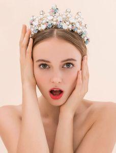 Keramische Bloemen Trouwjurk Kroon Bruiloft Tiara Bruids Kroon 2016