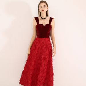 Chic / Beautiful Burgundy Evening Dresses  2019 A-Line / Princess Shoulders Suede Tassel Sleeveless Tea-length Formal Dresses