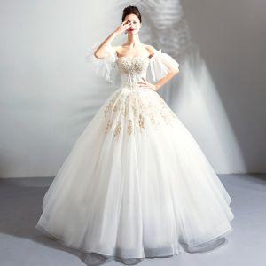 Luxus / Herrlich Lange Weiß Hochzeit 2018 Schnüren Tülle Bandeau Applikationen Rückenfreies Perlenstickerei Ballkleid Brautkleider