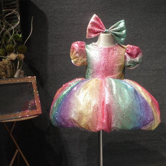 Märchen Regenbogen Geburtstag Blumenmädchenkleider 2020 Ballkleid Rundhalsausschnitt Geschwollenes Kurze Ärmel Multifarben Pailletten Kurze Kleider Für Hochzeit