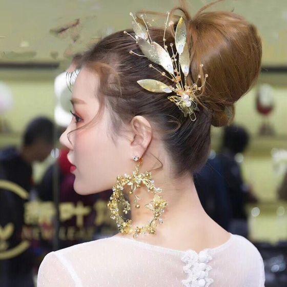 Piękne Złote Biżuteria Ślubna 2019 Metal Liść Perła Kryształ Ozdoby Do Włosów Kolczyki Ślub Akcesoria