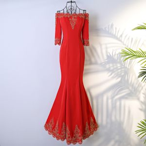 Sexy Red Evening Dresses  2017 Trumpet / Mermaid Lace Flower Off-The-Shoulder 3/4 Sleeve Floor-Length / Long Formal Dresses