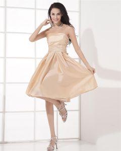 Empire Knee Length Strapless Satin Sleeveless Evening Party Dresses