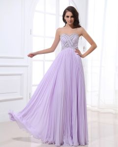 Strapless Neckline Floor Length Beading Pleated Chiffon Empire Woman Evening Dress