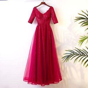 Schöne Rot Abendkleider 2017 A Linie Pailletten Spitze Blumen Perlenstickerei V-Ausschnitt Rückenfreies 1/2 Ärmel Knöchellänge Abend