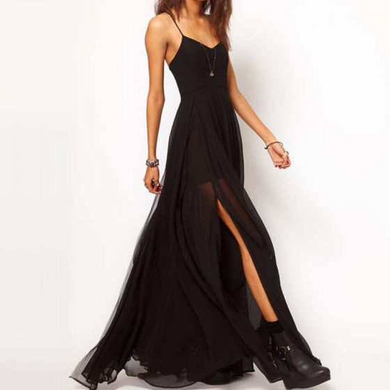 Sexy Summer Black Chiffon Maxi Dresses 2018 Spaghetti Straps Sleeveless Split Front Floor-Length / Long Backless Women's Clothing