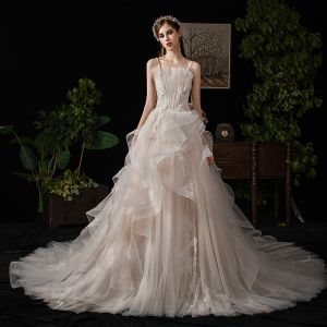 Charming Champagne Wedding Dresses 2019 A-Line / Princess Spaghetti Straps Beading Lace Flower Sleeveless Backless Cascading Ruffles Cathedral Train