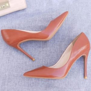 Modest / Simple Office Brown Pumps 2020 10 cm Stiletto Heels Pointed Toe Pumps