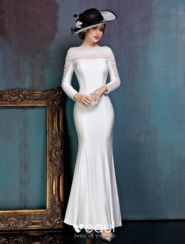 cómo hacer pedidos comprar Códigos promocionales Vestido Formal Del Vestidos De Noche De Raso Blanco Simple Con Tul De La  Colmena