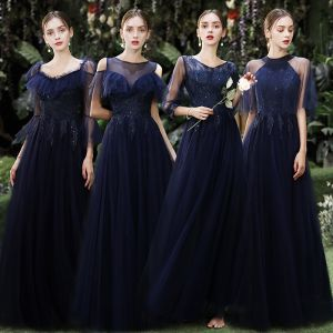 Affordable Navy Blue Bridesmaid Dresses 2020 A-Line / Princess Appliques Lace Sequins Floor-Length / Long Ruffle Wedding Party Dresses