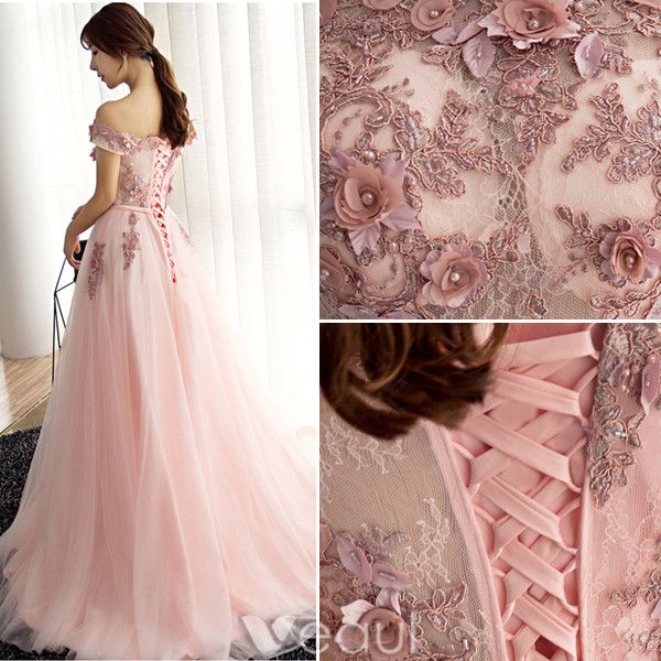 Glamorous Evening Dresses 2017 Off The Shoulder Beading Applique Flowers Burgundy Dress