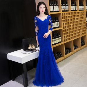 Modern / Fashion Royal Blue Evening Dresses  2017 Trumpet / Mermaid Floor-Length / Long V-Neck 3/4 Sleeve Backless Lace Appliques Pierced Formal Dresses