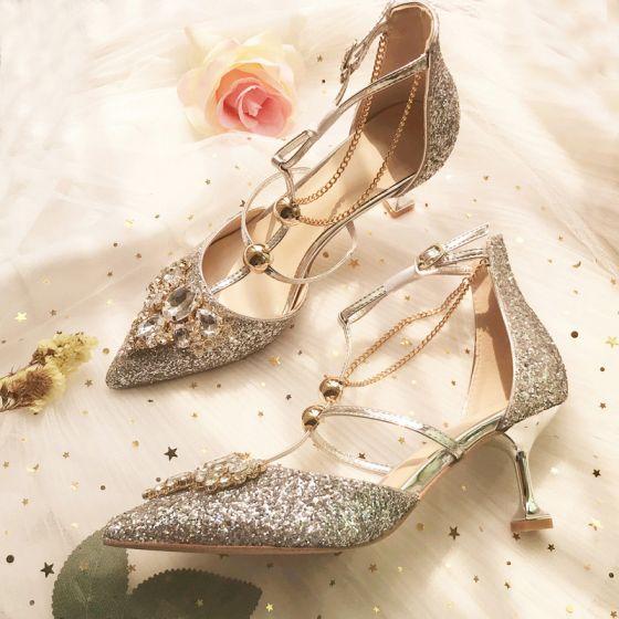 Brillante Encantador Plata Crystal Zapatos de novia 2020 T-Correa Lentejuelas 8 cm Stilettos / Tacones De Aguja Punta Estrecha Boda Tacones