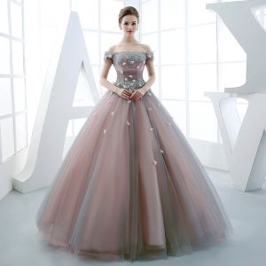 Chic / Beautiful Prom Dresses 2017 Sequins Lace Appliques Beading Rhinestone Off-The-Shoulder Short Sleeve Backless Floor-Length / Long Pearl Pink Ball Gown