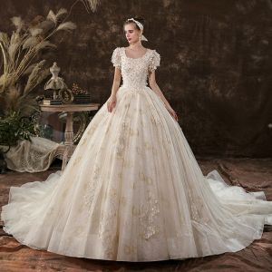 Elegant Champagne Ball Gown Wedding Dresses 2020 Square Neckline Beading Sequins Appliques Short Sleeve Backless Cathedral Train