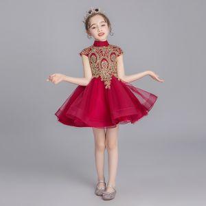 Chinesischer Stil Burgunderrot Blumenmädchenkleider 2019 Ballkleid Stehkragen Ärmel Applikationen Spitze Strass Kurze Rüschen Kleider Für Hochzeit
