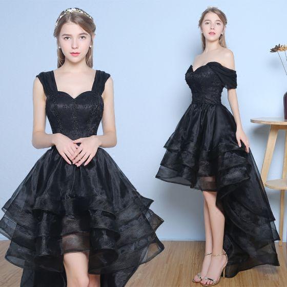 Piękne Sukienki Wizytowe 2017 Sukienki Koktajlowe Czarne Princessa Asymetryczny Kaskadowe Falbany Przy Ramieniu Bez Pleców Bez Rękawów Z Koronki Aplikacje Perła