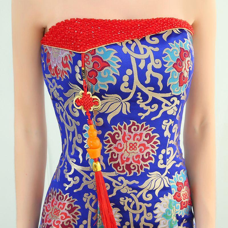 Style Chinois Bleu Roi Robe De Soirée 2019 Trompette / Sirène Bustier Gland Cristal Brodé Sans Manches Dos Nu Longue Robe De Ceremonie