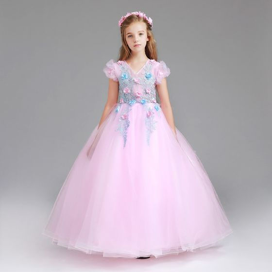 Chic / Beautiful Blushing Pink Flower Girl Dresses 2017 Ball Gown V-Neck Short Sleeve Appliques Flower Floor-Length / Long Ruffle Wedding Party Dresses