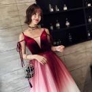 Modern / Fashion Burgundy Evening Dresses  2018 A-Line / Princess Spaghetti Straps V-Neck Sleeveless Sash Floor-Length / Long Ruffle Backless Formal Dresses