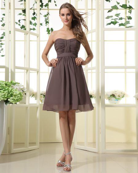 Chiffon Sweetheart Neckline Sash Knee Length Bridesmaid Dress Gown