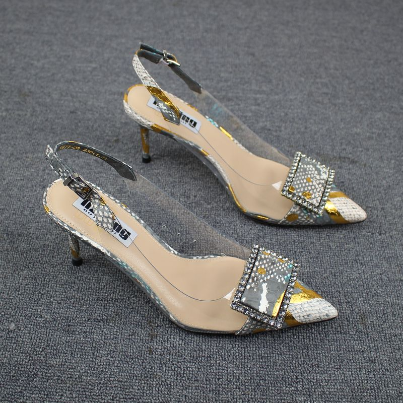 Chic / Beautiful Silver Casual Womens Sandals 2019 Rhinestone Ankle Strap 7 cm Stiletto Heels Pointed Toe Sandals