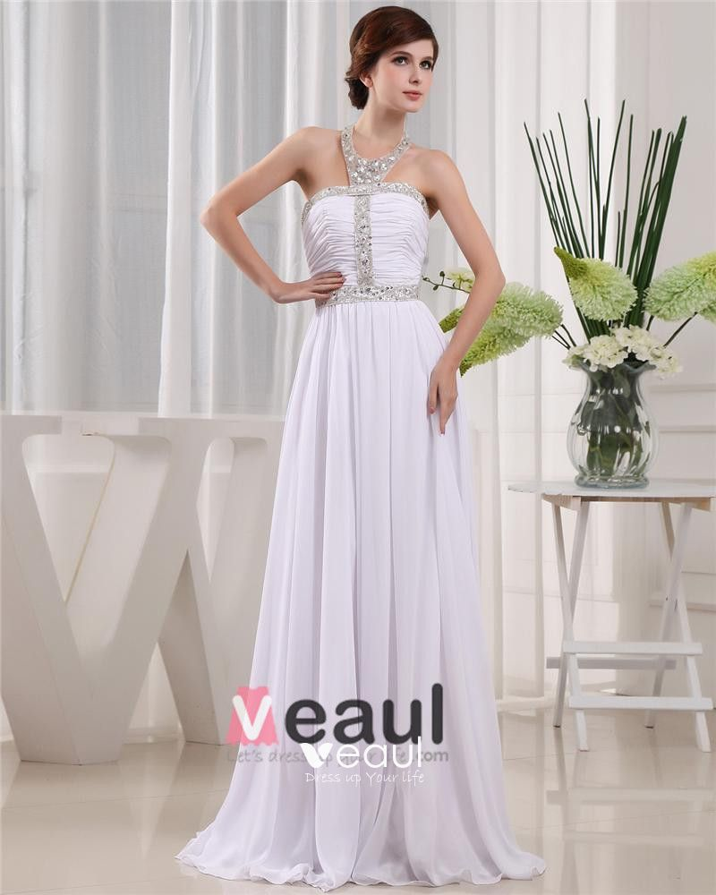 Halter Zipper Sleeveless Floor Length Beading Pleated Chiffon Woman Prom Dress