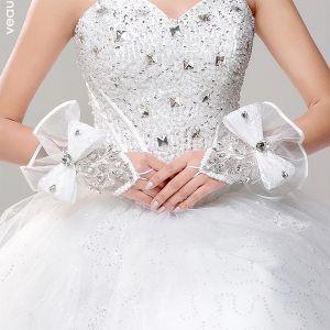 Weißen Satin Mit Spitze-fingerless Brauthandschuhe