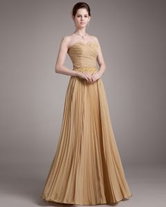 Beading Ruffles Sweetheart Floor Length Chiffon Evening Dress