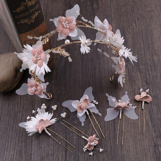Blumenfee Gold Haarschmuck Braut  2020 Legierung Perlenstickerei Perle Schmetterling Blumen Kopfschmuck Haarbügel Hochzeit Brautaccessoires