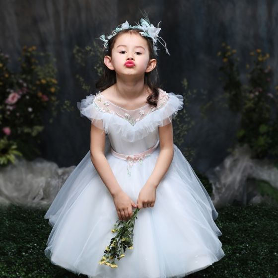 Chic / Beautiful Church Wedding Party Dresses 2017 Flower Girl Dresses Sky Blue Ball Gown Knee-Length Scoop Neck Backless Beading Short Sleeve Sash Crystal Pearl Rhinestone