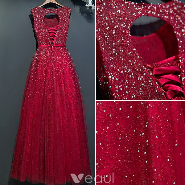 Sparkly Evening Dresses 2017 Scoop Neckline Beading Rhinestones Burgundy Lace Dress