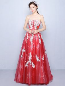 Beautiful Prom Dresses 2016 A-line Strapless Applique White Lace Red Tulle Long Dress