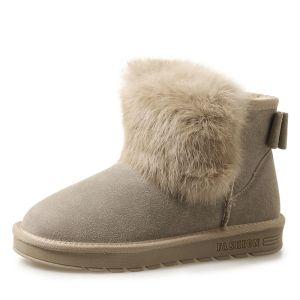 Mode Stiefel Damen 2017 Khaki Leder Ankle Boots Wildleder Freizeit Winter Flache Schneestiefel