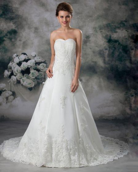 Tyll Spetsar Alskling Golv Langd Domstol Trana En Linje Brudklänningar Bröllopsklänningar