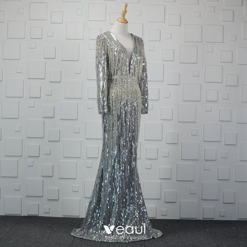 6a9b80e21f Luxury / Gorgeous Sparkly Silver Handmade Beading Evening Dresses ...