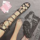 Chic / Beautiful 2017 Black Brown Beach Casual Outdoor / Garden Leather Summer Strappy Flat Sandals Open / Peep Toe Womens Sandals