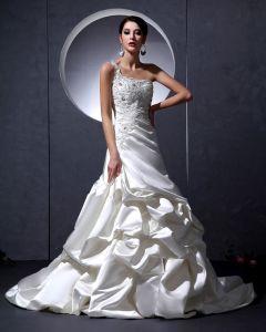 Moda Con Cuentas De Raso Con Vuelos Un Tribunal Hombro Bordado Línea A De Vestidos De Novia Vestido De Novia