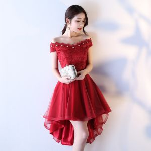 Modern / Fashion Cocktail Dresses 2017 Lace Rhinestone Backless Square Neckline Short Sleeve Short Asymmetrical Cocktail Party A-Line / Princess