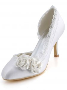 New Sweet Flower Duolei Si Thin With White Satin Wedding Shoes, Party Shoes And Comfortable