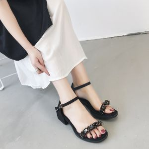 Modest / Simple Black Casual Womens Sandals 2018 Suede Rhinestone 4 cm Thick Heels Open / Peep Toe Sandals