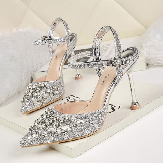 Sparkly Silver Evening Party High Heels 2020 Rhinestone Sequins Ankle Strap 9 cm Stiletto Heels Pointed Toe Womens Shoes