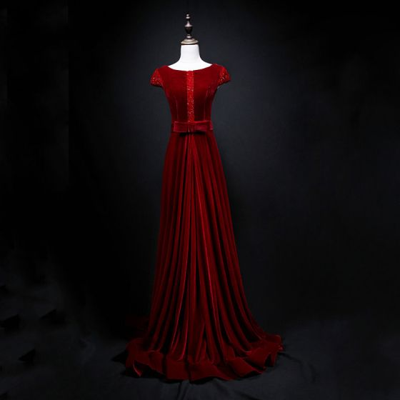 Classic Burgundy Suede Evening Dresses  2019 A-Line / Princess Scoop Neck Cap Sleeves Beading Bow Sash Sweep Train Ruffle Backless Formal Dresses