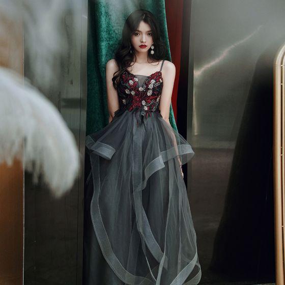 Chic / Belle Noire Robe De Bal 2020 Princesse Bretelles Spaghetti Perlage En Dentelle Fleur Sans Manches Dos Nu Longue Robe De Ceremonie